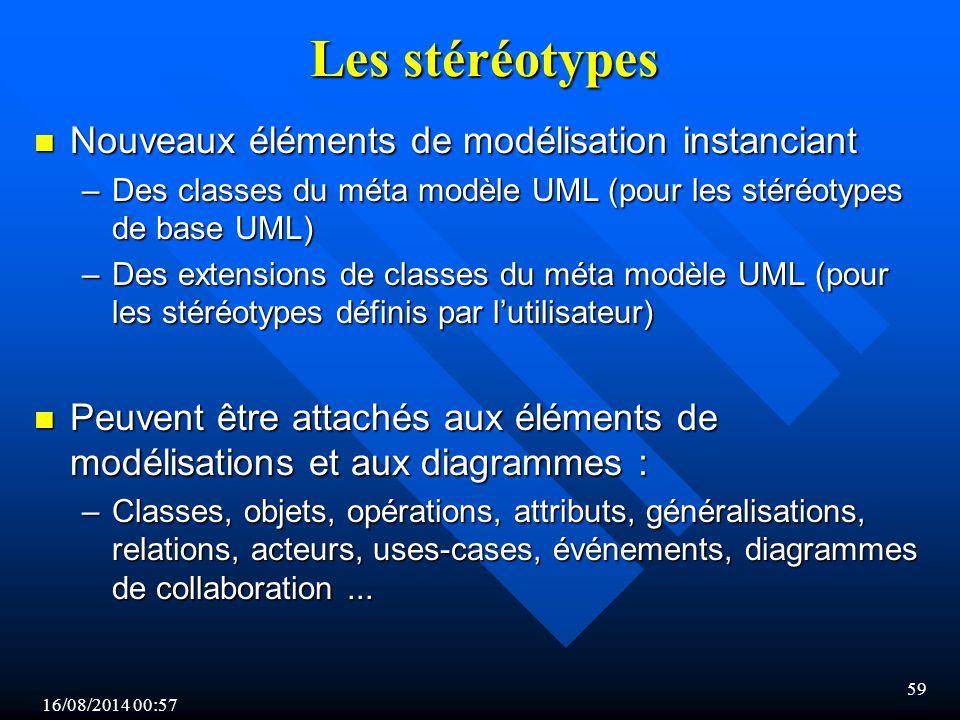 16/08/2014 00:59 59 Les stéréotypes n Nouveaux éléments de modélisation instanciant –Des classes du méta modèle UML (pour les stéréotypes de base UML) –Des extensions de classes du méta modèle UML (pour les stéréotypes définis par l'utilisateur) n Peuvent être attachés aux éléments de modélisations et aux diagrammes : –Classes, objets, opérations, attributs, généralisations, relations, acteurs, uses-cases, événements, diagrammes de collaboration...
