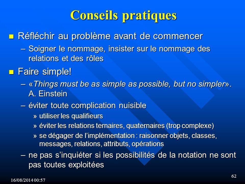 16/08/2014 00:59 62 Conseils pratiques n Réfléchir au problème avant de commencer –Soigner le nommage, insister sur le nommage des relations et des rôles n Faire simple.
