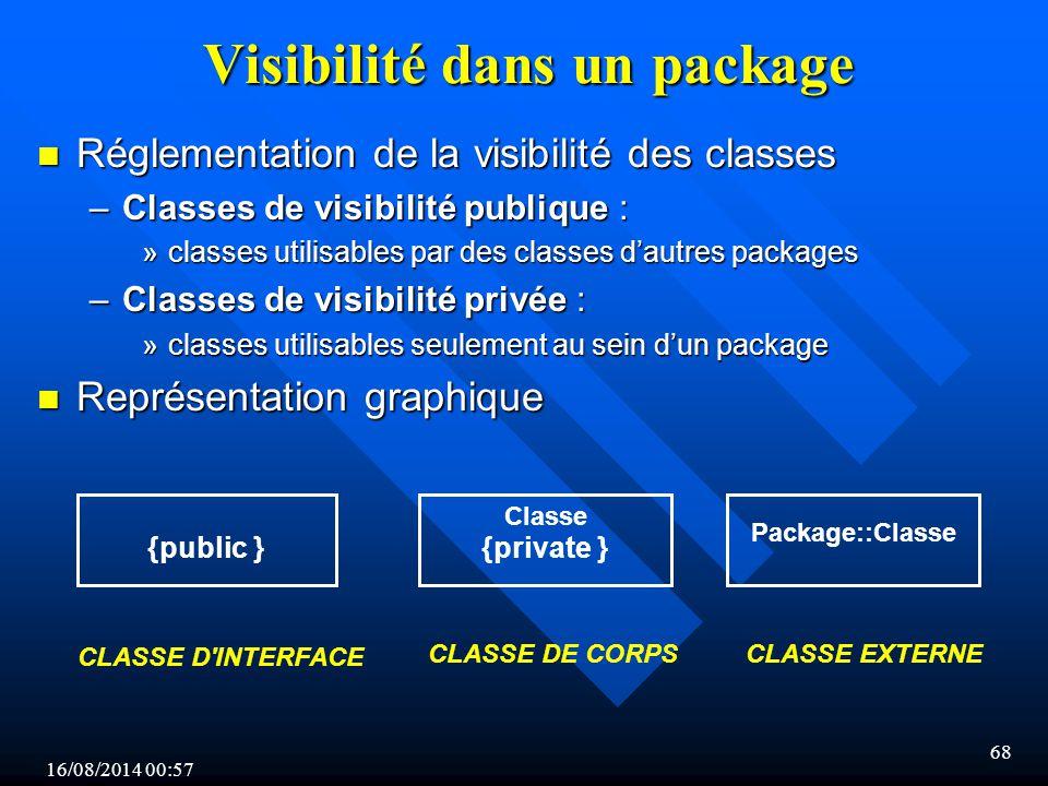 16/08/2014 00:59 68 n Réglementation de la visibilité des classes –Classes de visibilité publique : »classes utilisables par des classes d'autres packages –Classes de visibilité privée : »classes utilisables seulement au sein d'un package n Représentation graphique Visibilité dans un package CLASSE D INTERFACE CLASSE DE CORPSCLASSE EXTERNE {public } Classe {private } Package::Classe