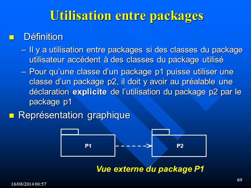 16/08/2014 00:59 69 Utilisation entre packages n Définition –Il y a utilisation entre packages si des classes du package utilisateur accèdent à des classes du package utilisé –Pour qu'une classe d'un package p1 puisse utiliser une classe d'un package p2, il doit y avoir au préalable une déclaration explicite de l'utilisation du package p2 par le package p1 n Représentation graphique P2P1 Vue externe du package P1