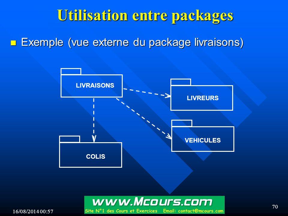 16/08/2014 00:59 70 Utilisation entre packages n Exemple (vue externe du package livraisons) LIVRAISONS VEHICULES COLIS LIVREURS
