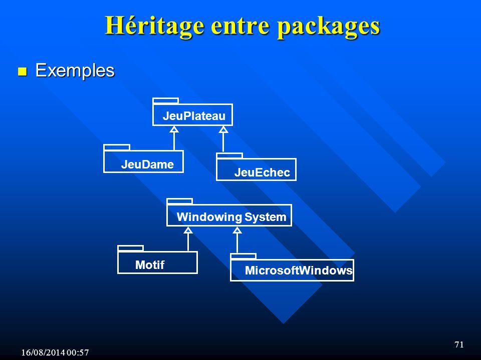 16/08/2014 00:59 71 Héritage entre packages n Exemples JeuPlateau JeuDame JeuEchec Windowing System Motif MicrosoftWindows