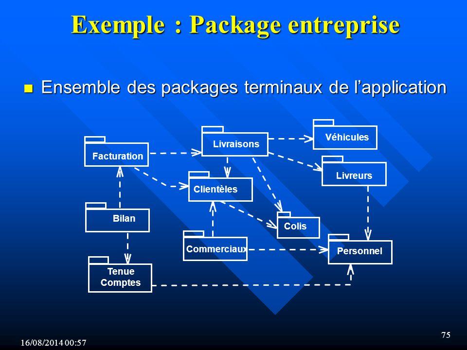 16/08/2014 00:59 75 Exemple : Package entreprise n Ensemble des packages terminaux de l'application Véhicules Personnel Colis Clientèles Livraisons Facturation Bilan Livreurs Commerciaux Tenue Comptes