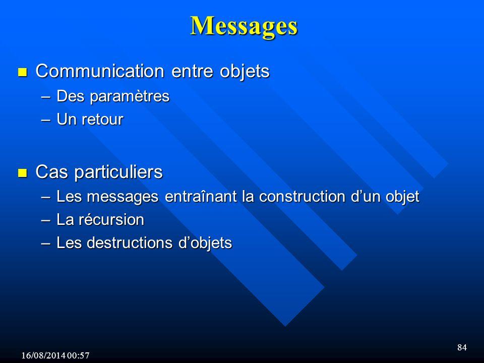 16/08/2014 00:59 84 Messages n Communication entre objets –Des paramètres –Un retour n Cas particuliers –Les messages entraînant la construction d'un objet –La récursion –Les destructions d'objets