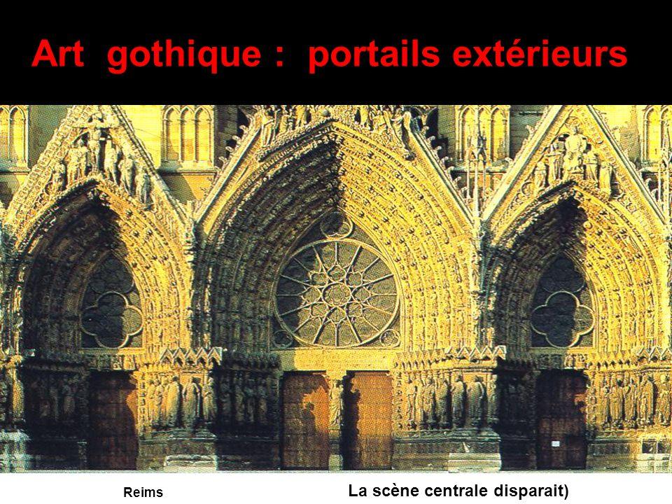 Art gothique : portails extérieurs Certains portails continuent de présenter le jugement dernier mais de manière plus aimable. La vierge plus douce es