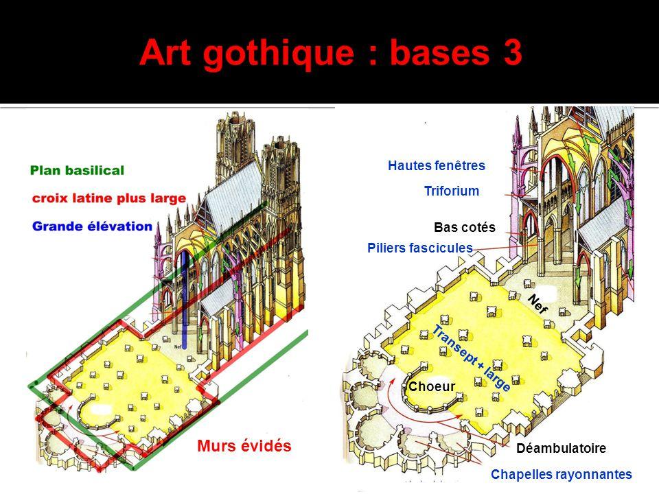 Art gothique : bases 3 Nef Transept + large Choeur Déambulatoire Chapelles rayonnantes Triforium Hautes fenêtres Piliers fascicules Bas cotés Murs évi