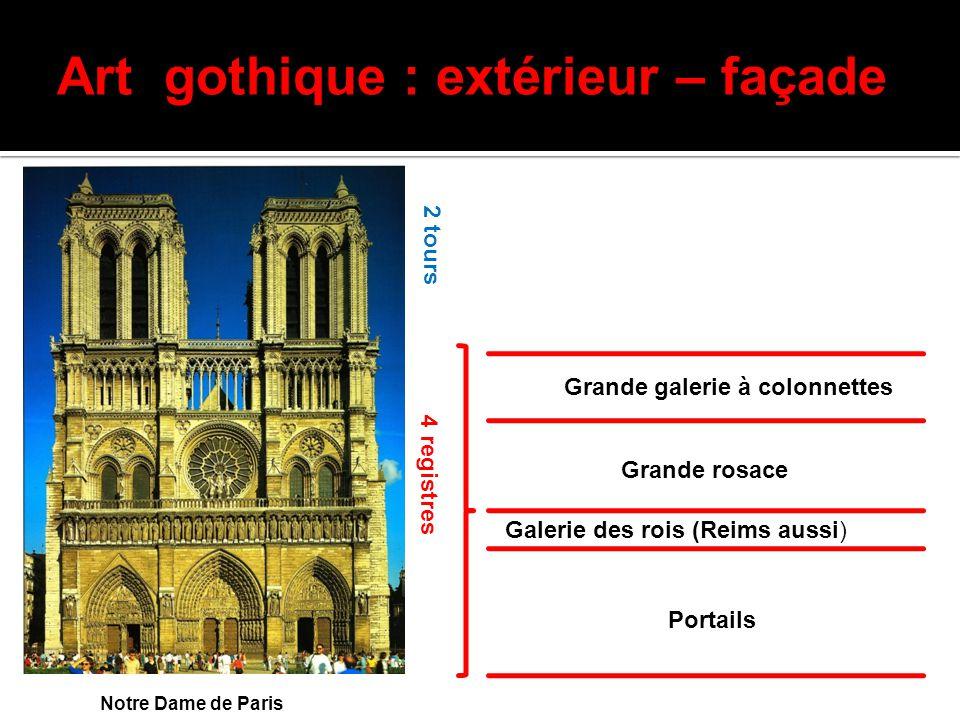 Art gothique : extérieur – façade Notre Dame de Paris 4 registres 2 tours Portails Galerie des rois (Reims aussi) Grande rosace Grande galerie à colon