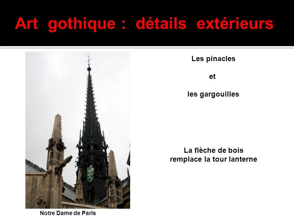Art gothique : détails extérieurs Les pinacles et les gargouilles Notre Dame de Paris La flèche de bois remplace la tour lanterne