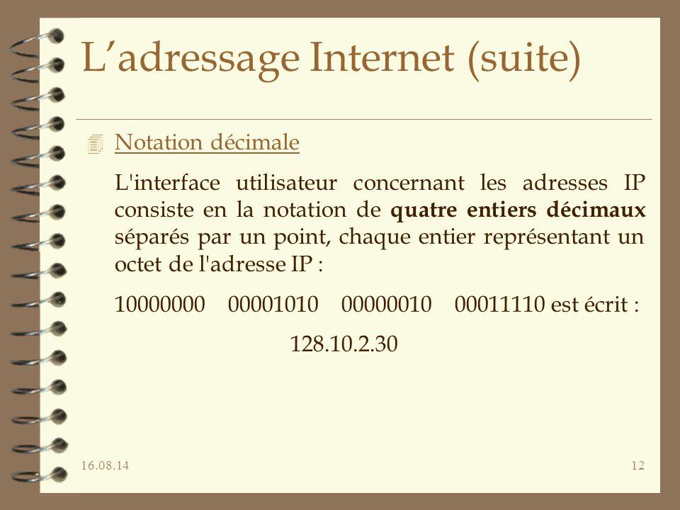 16.08.1412 L'adressage Internet (suite) 4 Notation décimale L'interface utilisateur concernant les adresses IP consiste en la notation de quatre entie