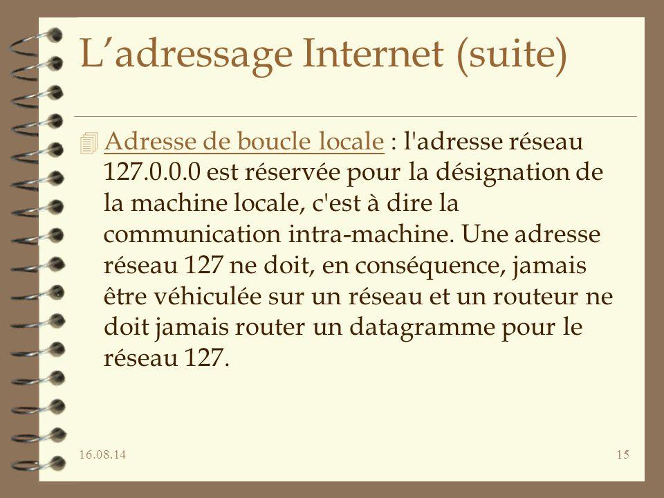 16.08.1415 L'adressage Internet (suite) 4 Adresse de boucle locale : l'adresse réseau 127.0.0.0 est réservée pour la désignation de la machine locale,
