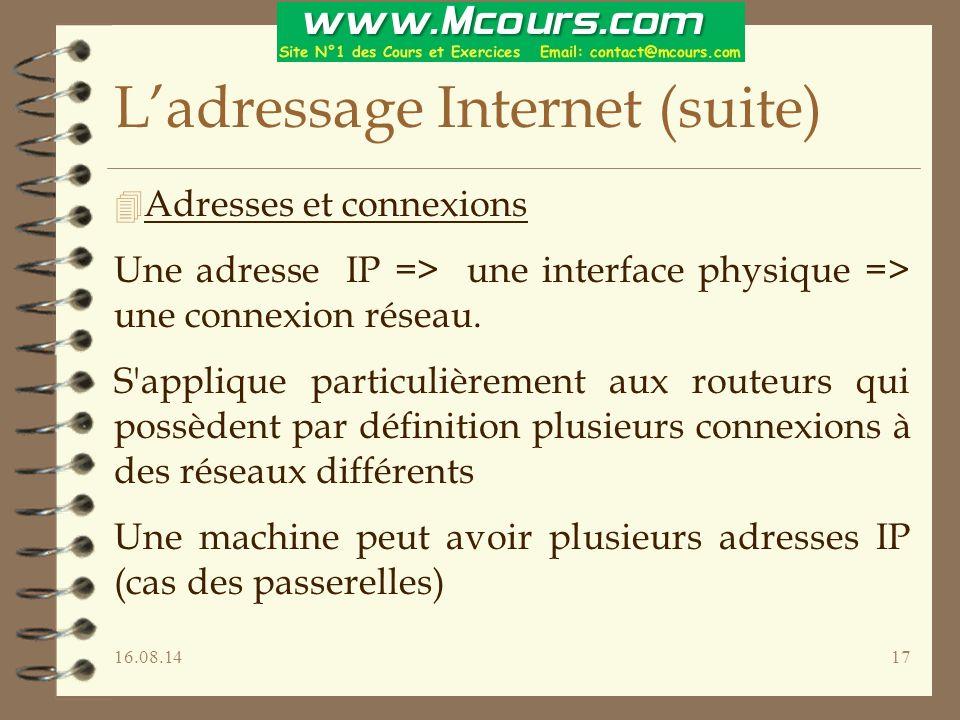 16.08.1417 L'adressage Internet (suite) 4 Adresses et connexions Une adresse IP => une interface physique => une connexion réseau.