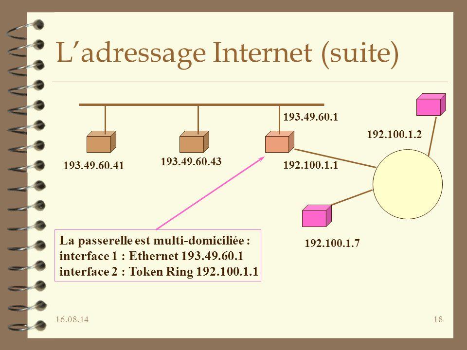 16.08.1418 L'adressage Internet (suite) 193.49.60.41 193.49.60.43 193.49.60.1 192.100.1.1 192.100.1.2 192.100.1.7 La passerelle est multi-domiciliée : interface 1 : Ethernet 193.49.60.1 interface 2 : Token Ring 192.100.1.1