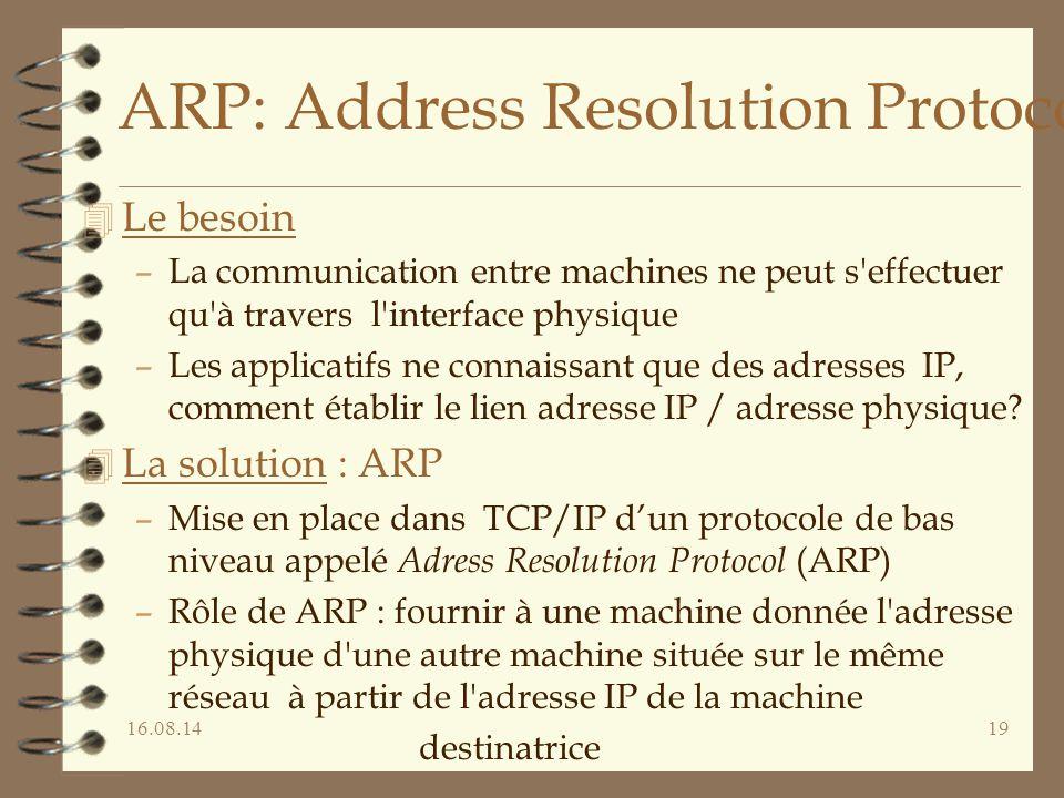 16.08.1419 ARP: Address Resolution Protocol 4 Le besoin –La communication entre machines ne peut s effectuer qu à travers l interface physique –Les applicatifs ne connaissant que des adresses IP, comment établir le lien adresse IP / adresse physique.