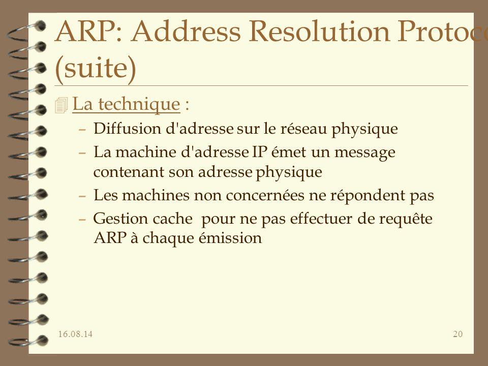 16.08.1420 ARP: Address Resolution Protocol (suite) 4 La technique : –Diffusion d'adresse sur le réseau physique –La machine d'adresse IP émet un mess