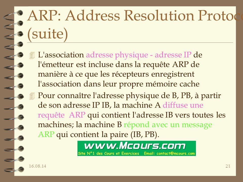 16.08.1421 ARP: Address Resolution Protocol (suite) 4 L association adresse physique - adresse IP de l émetteur est incluse dans la requête ARP de manière à ce que les récepteurs enregistrent l association dans leur propre mémoire cache 4 Pour connaître l adresse physique de B, PB, à partir de son adresse IP IB, la machine A diffuse une requête ARP qui contient l adresse IB vers toutes les machines; la machine B répond avec un message ARP qui contient la paire (IB, PB).