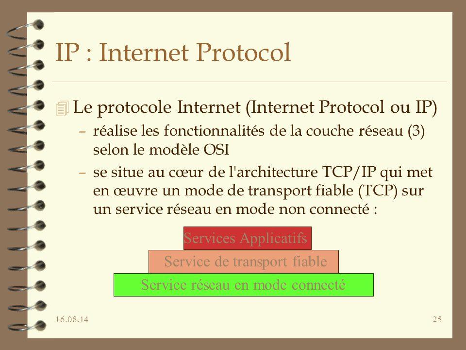 16.08.1425 IP : Internet Protocol 4 Le protocole Internet (Internet Protocol ou IP) –réalise les fonctionnalités de la couche réseau (3) selon le modèle OSI –se situe au cœur de l architecture TCP/IP qui met en œuvre un mode de transport fiable (TCP) sur un service réseau en mode non connecté : Services Applicatifs Service de transport fiable Service réseau en mode connecté