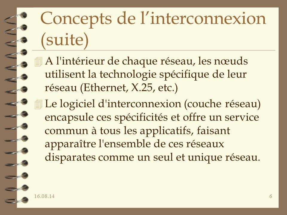 16.08.146 Concepts de l'interconnexion (suite) 4 A l'intérieur de chaque réseau, les nœuds utilisent la technologie spécifique de leur réseau (Etherne