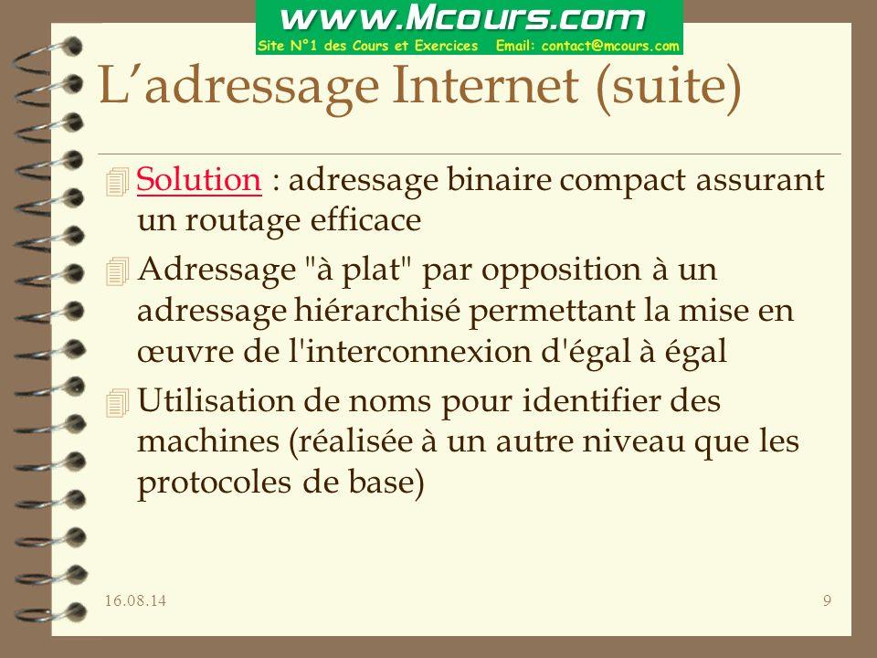 16.08.149 L'adressage Internet (suite) 4 Solution : adressage binaire compact assurant un routage efficace 4 Adressage