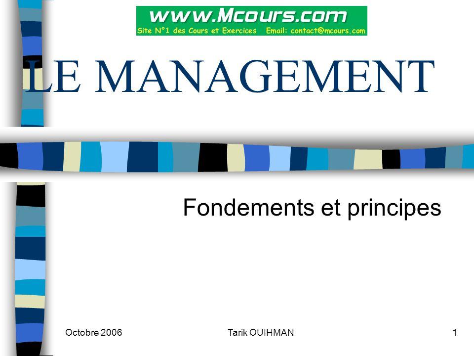 Octobre 2006 2Tarik OUIHMAN Introduction Un dirigeant d'entreprise doit posséder plusieurs qualités dont voici les plus essentielles: L'esprit de synthèse L'aptitude à l'arbitrage L'anticipation
