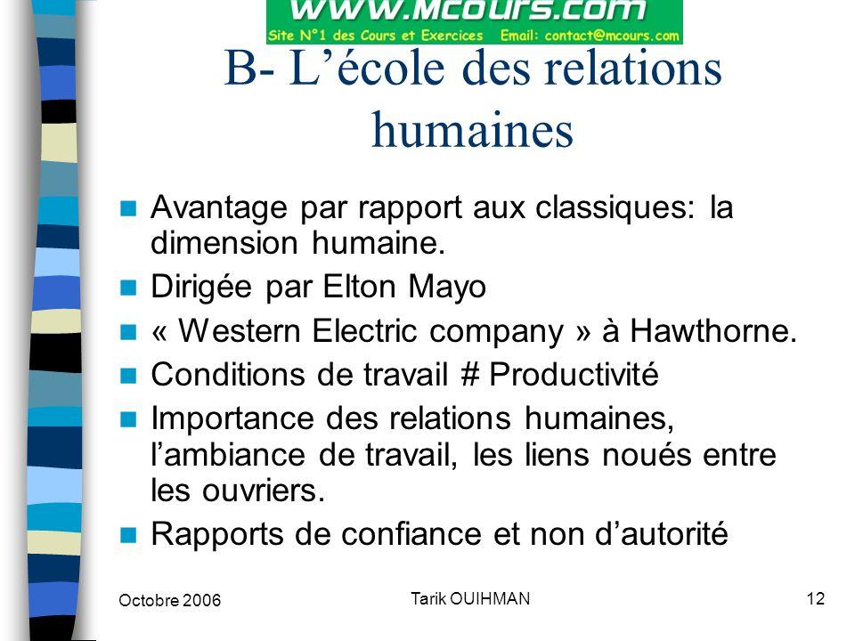 Octobre 2006 12Tarik OUIHMAN B- L'école des relations humaines Avantage par rapport aux classiques: la dimension humaine. Dirigée par Elton Mayo « Wes