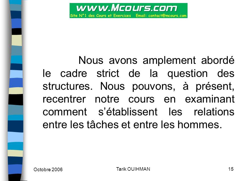 Octobre 2006 15Tarik OUIHMAN Nous avons amplement abordé le cadre strict de la question des structures. Nous pouvons, à présent, recentrer notre cours