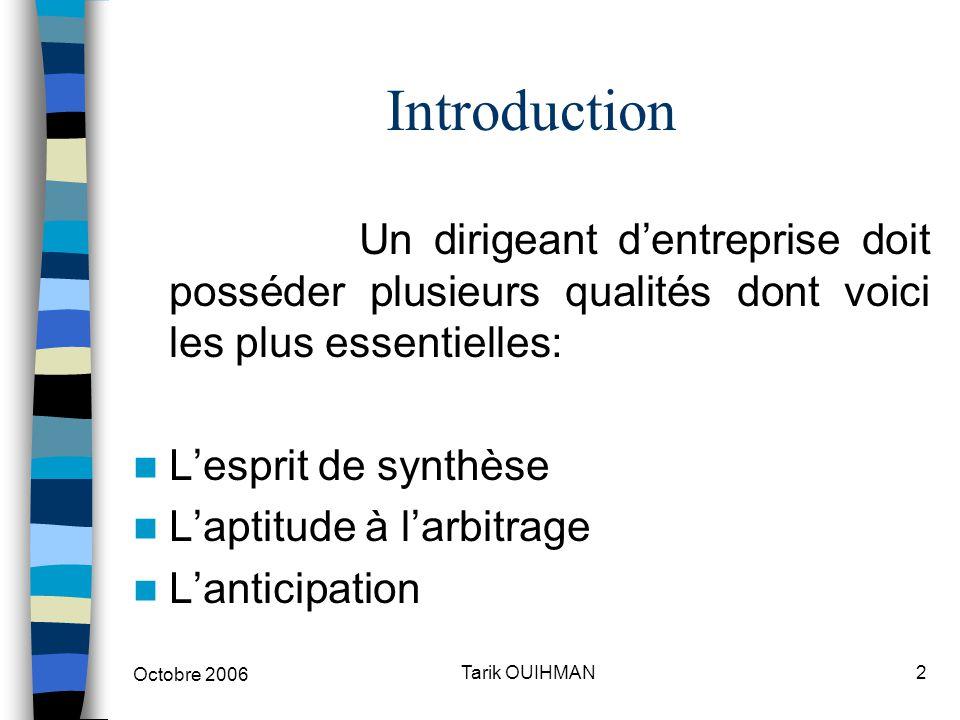 Octobre 2006 3Tarik OUIHMAN Introduction Une démarche de MANAGEMENT suppose 2 procédures: Une analyse de l'environnement Concevoir les orientations pour la construction de l'avenir de l'entreprise