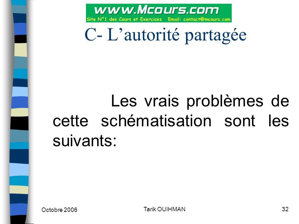 Octobre 2006 32Tarik OUIHMAN C- L'autorité partagée Les vrais problèmes de cette schématisation sont les suivants: