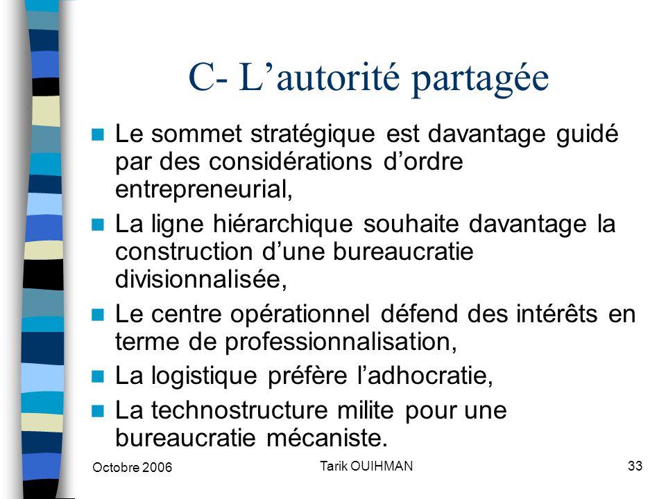 Octobre 2006 33Tarik OUIHMAN C- L'autorité partagée Le sommet stratégique est davantage guidé par des considérations d'ordre entrepreneurial, La ligne
