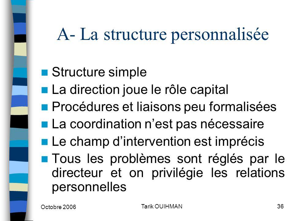 Octobre 2006 36Tarik OUIHMAN A- La structure personnalisée Structure simple La direction joue le rôle capital Procédures et liaisons peu formalisées L