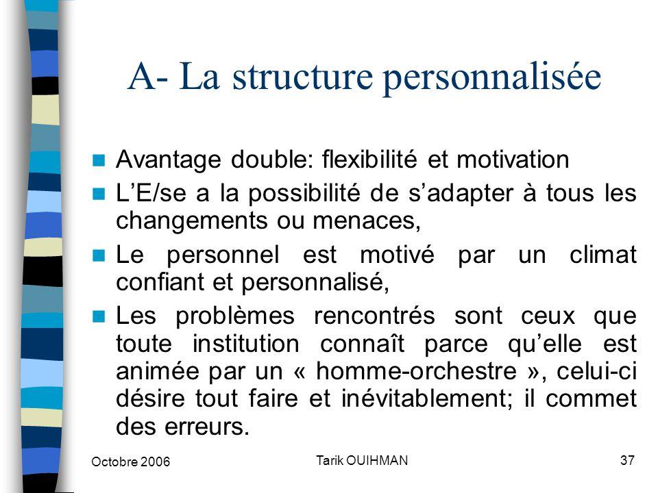 Octobre 2006 37Tarik OUIHMAN A- La structure personnalisée Avantage double: flexibilité et motivation L'E/se a la possibilité de s'adapter à tous les