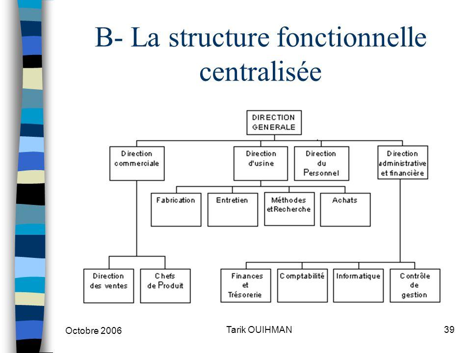 Octobre 2006 39Tarik OUIHMAN B- La structure fonctionnelle centralisée