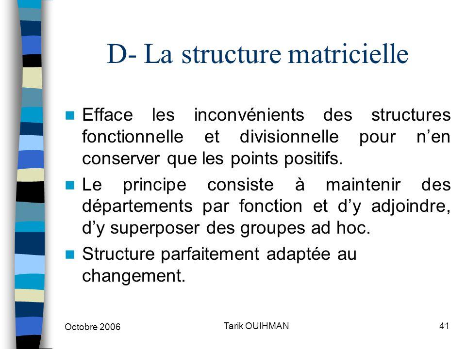 Octobre 2006 41Tarik OUIHMAN D- La structure matricielle Efface les inconvénients des structures fonctionnelle et divisionnelle pour n'en conserver qu