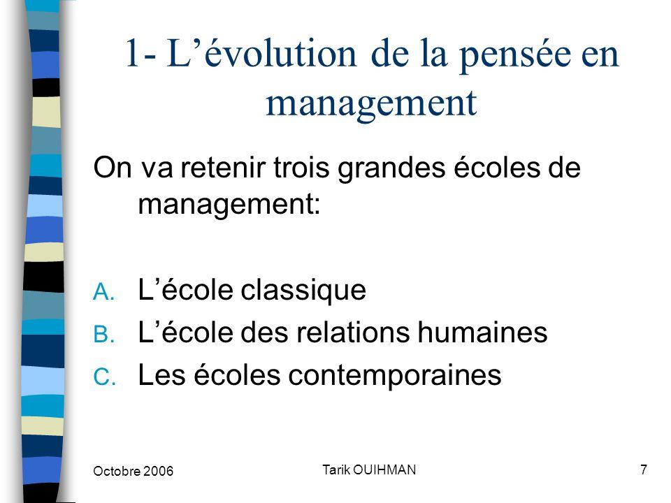 Octobre 2006 7Tarik OUIHMAN 1- L'évolution de la pensée en management On va retenir trois grandes écoles de management: A. L'école classique B. L'écol