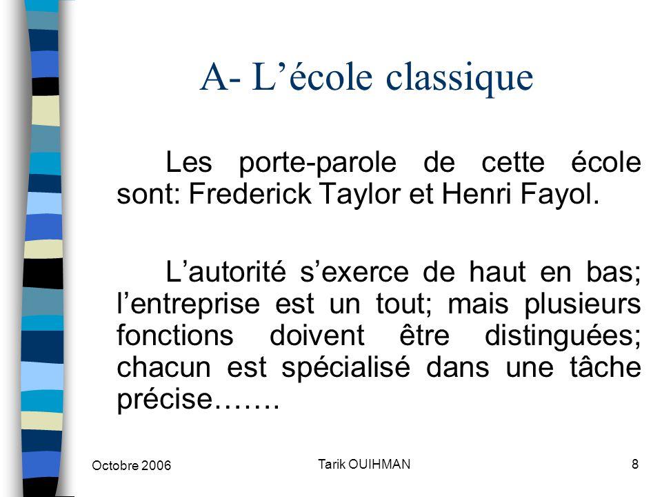 Octobre 2006 8Tarik OUIHMAN A- L'école classique Les porte-parole de cette école sont: Frederick Taylor et Henri Fayol. L'autorité s'exerce de haut en