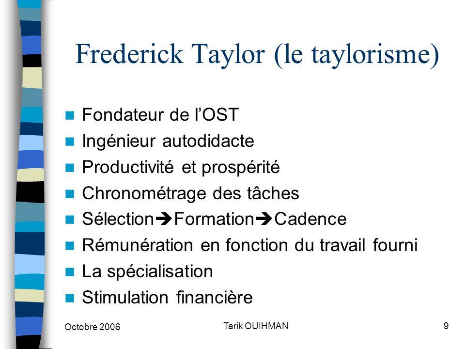 Octobre 2006 9Tarik OUIHMAN Frederick Taylor (le taylorisme) Fondateur de l'OST Ingénieur autodidacte Productivité et prospérité Chronométrage des tâc