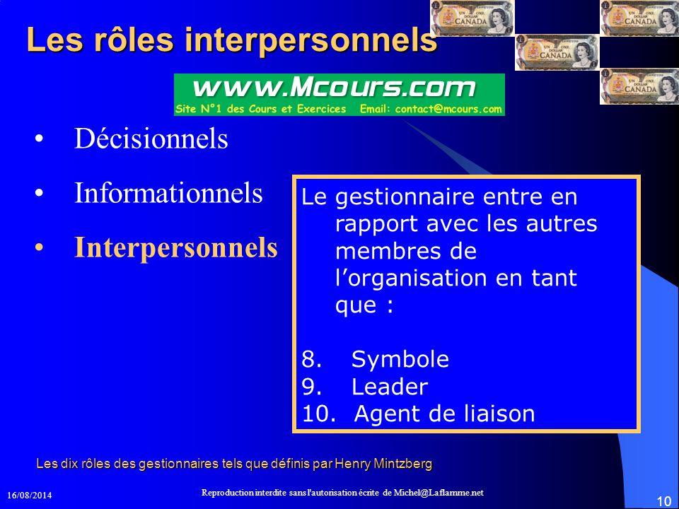 16/08/2014 Reproduction interdite sans l'autorisation écrite de Michel@Laflamme.net 10 Les rôles interpersonnels Décisionnels Informationnels Interper