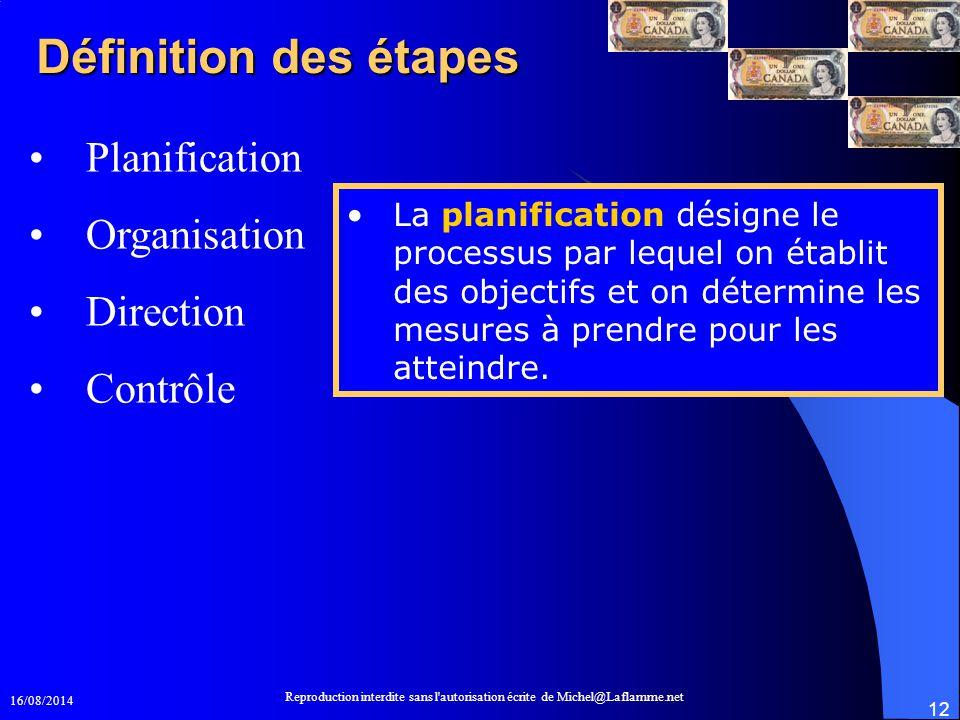 16/08/2014 Reproduction interdite sans l'autorisation écrite de Michel@Laflamme.net 12 Définition des étapes Planification Organisation Direction Cont