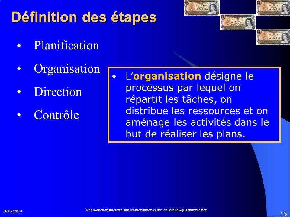 16/08/2014 Reproduction interdite sans l'autorisation écrite de Michel@Laflamme.net 13 Définition des étapes Planification Organisation Direction Cont