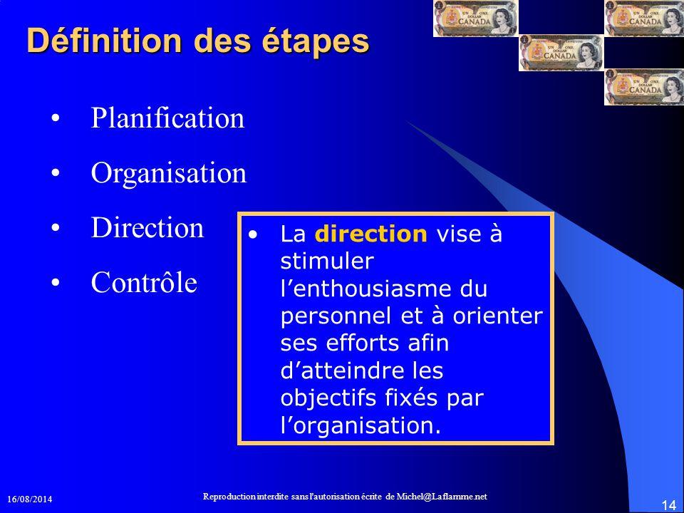 16/08/2014 Reproduction interdite sans l'autorisation écrite de Michel@Laflamme.net 14 Définition des étapes Planification Organisation Direction Cont
