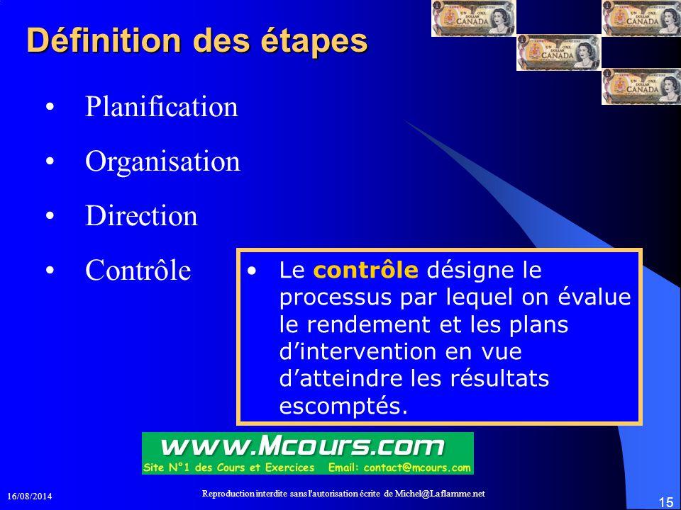 16/08/2014 Reproduction interdite sans l'autorisation écrite de Michel@Laflamme.net 15 Définition des étapes Planification Organisation Direction Cont