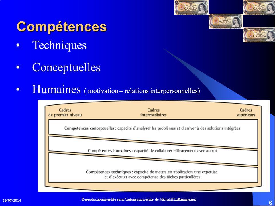 16/08/2014 Reproduction interdite sans l'autorisation écrite de Michel@Laflamme.net 6 Compétences Techniques Conceptuelles Humaines ( motivation – rel