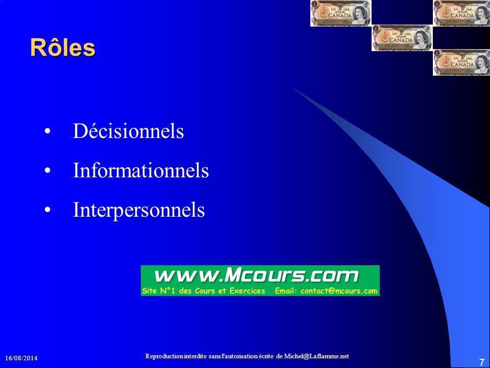 16/08/2014 Reproduction interdite sans l'autorisation écrite de Michel@Laflamme.net 7 Rôles Décisionnels Informationnels Interpersonnels