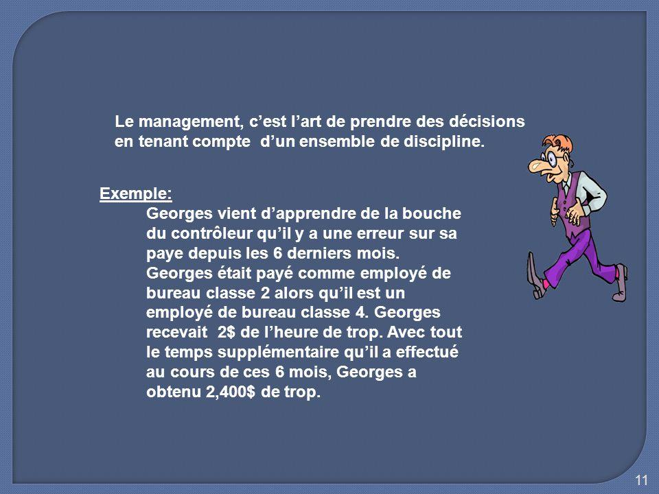 11 Le management, c'est l'art de prendre des décisions en tenant compte d'un ensemble de discipline. Exemple: Georges vient d'apprendre de la bouche d