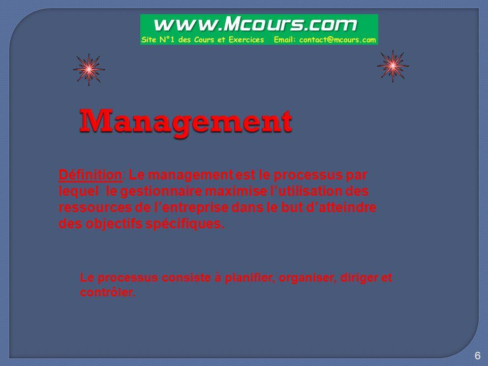 6 Management Définition: Le management est le processus par lequel le gestionnaire maximise l'utilisation des ressources de l'entreprise dans le but d'atteindre des objectifs spécifiques.