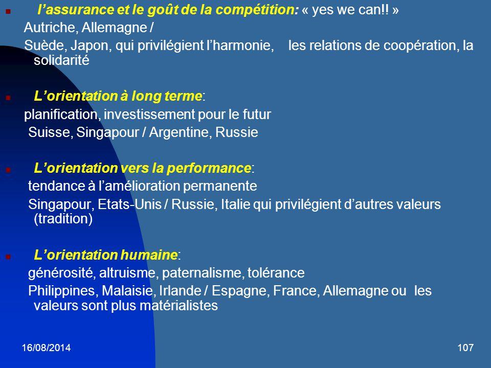 16/08/2014107 l'assurance et le goût de la compétition: « yes we can!! » Autriche, Allemagne / Suède, Japon, qui privilégient l'harmonie, les relation