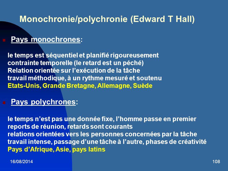 16/08/2014108 Monochronie/polychronie (Edward T Hall) Pays monochrones : le temps est séquentiel et planifié rigoureusement contrainte temporelle (le