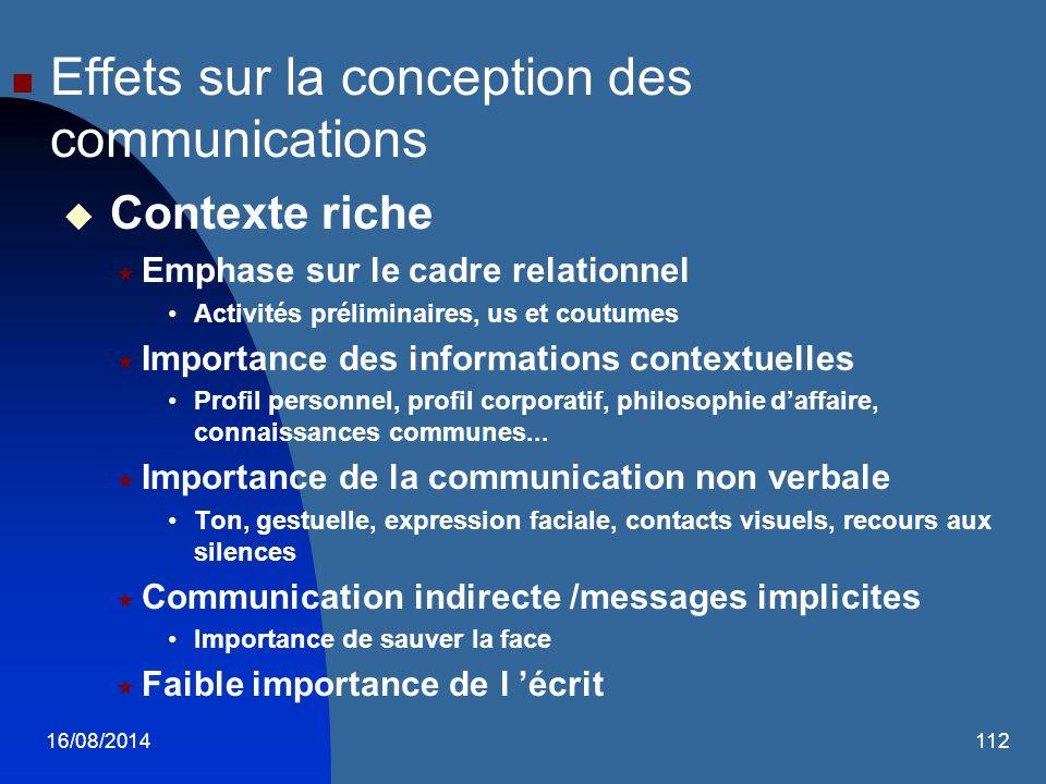 16/08/2014112 Effets sur la conception des communications  Contexte riche  Emphase sur le cadre relationnel Activités préliminaires, us et coutumes