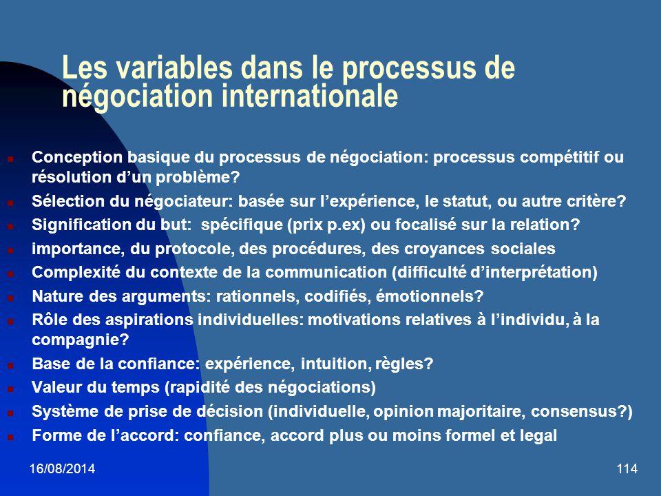16/08/2014114 Les variables dans le processus de négociation internationale Conception basique du processus de négociation: processus compétitif ou ré