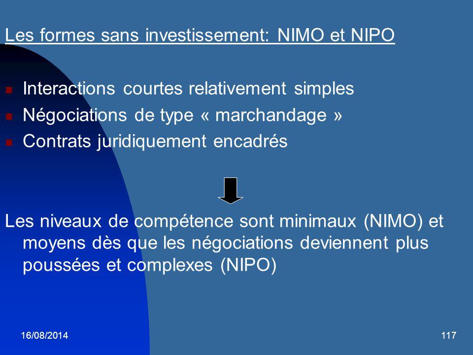 16/08/2014117 Les formes sans investissement: NIMO et NIPO Interactions courtes relativement simples Négociations de type « marchandage » Contrats jur