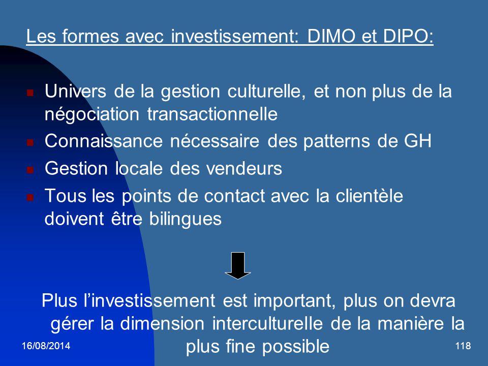 16/08/2014118 Les formes avec investissement: DIMO et DIPO: Univers de la gestion culturelle, et non plus de la négociation transactionnelle Connaissa